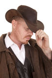 Cowboy leather coat hat close head look down Royalty Free Stock Photos