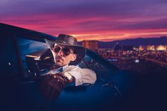 Cowboy Leaving Las Vegas Royaltyfri Bild