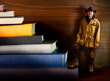 Cowboy in the library Royalty Free Stock Photo