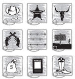 Cowboy life elements .Vector black silhouettes royalty free stock image