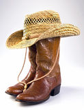 Cowboy Life. Cowboy lizard skin boots and straw hat royalty free stock image