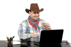 Cowboy likes music video clip in YouTube Royalty Free Stock Image
