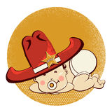 Cowboy little baby with big western sheriff hat Royalty Free Stock Image