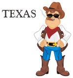 Cowboy live in Texas. Happy cowboy smoke and stand wit black word Texas Royalty Free Stock Photo
