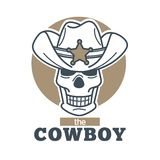 Cowboy logo skull in sheriff hat isolated on white background. Royalty Free Stock Image
