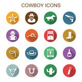 Cowboy long shadow icons Royalty Free Stock Images