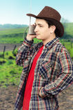 Cowboy man listening romantic western ballads Royalty Free Stock Photos