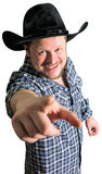 Cowboy man at plaid shirt with black hat Stock Photos
