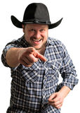 Cowboy man at plaid shirt with black hat Stock Photo