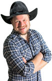 Cowboy man at plaid shirt with black hat Stock Images