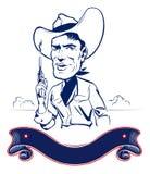 Cowboy man portrait. With gun and ribbon Stock Photos