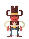 Cowboy med vapen. Vektor som isoleras på vit Arkivfoton