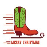 Cowboy Merry Christmas card .Cowboy ice skate boot illustration stock illustration