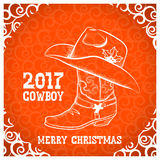 Cowboy merry christmas greeting card with cowboy objects Royalty Free Stock Photography