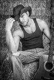 Cowboy met Gitaar stock foto