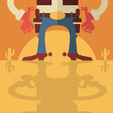 Cowboy met kanonnenachtergrond Royalty-vrije Stock Afbeelding