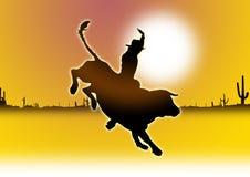 cowboy met Stier   royalty-vrije stock afbeelding