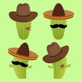 Cowboy and Mexican Cactus Cartoon Stock Photo