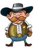 Cowboy mignon de dessin animé avec une courroie de canon Images stock
