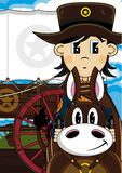 Cowboy mignon Sheriff sur le cheval Illustration de Vecteur