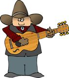 Cowboy Minstrel. This illustration depicts a cowboy playing a guitar Stock Images