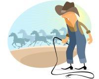 Cowboy mit Herde lizenzfreie abbildung