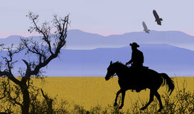 Cowboy in the mountains. A black silhouette of a cowboy with branches, mountains and birds flying above Stock Illustration
