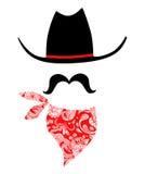 Cowboy With Mustache and Bandana. Whimsical cowboy illustration with cowboy hat, mustache, and red bandanna Stock Photos
