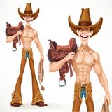 Cowboy naked to the waist with a saddle on his shoulder Stock Images