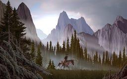 Cowboy nas Montanhas Rochosas ilustração do vetor