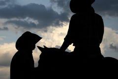 Cowboy nel grande paese del cielo Fotografia Stock