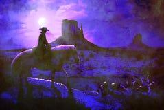 Cowboy at night. Stock Photo