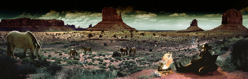 Cowboy at nightfall. Desert of Monument Valley, Utah, at nightfall Royalty Free Stock Photo
