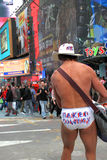 Cowboy nu de NYC Photos stock