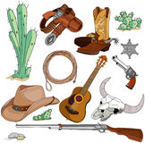 Cowboy objects set. Various vintage cowboy western objects set Stock Photo