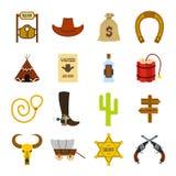 Cowboy occidental sauvage Flat Icons Photographie stock libre de droits