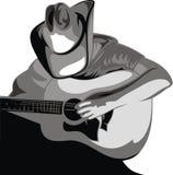 Cowboy och gitarr royaltyfri illustrationer