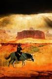Cowboy och häst på grunge stock illustrationer