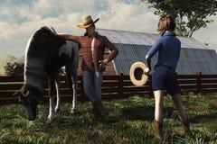 Cowboy och landsflicka royaltyfri illustrationer