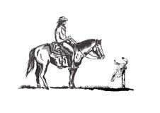 Cowboy och skalle royaltyfri illustrationer