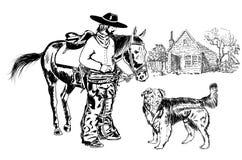 Cowboy och skugga royaltyfri illustrationer