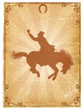 Cowboy old paper background. For text with decor frame .Retro rodeo poster vector illustration