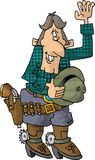 Cowboy ondulant avec son chapeau hors fonction Image libre de droits