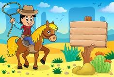 Cowboy op beeld 4 van het paardthema Stock Afbeeldingen