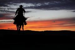 Cowboy op een paard stock foto