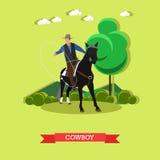 Cowboy op paard met lasso, vlak ontwerp vector illustratie
