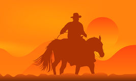 Cowboy over sunset. Illustration of a cowboy over sunset in mountains Royalty Free Stock Image