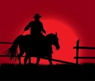 Cowboy over zonsondergang royalty-vrije illustratie