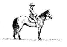 Cowboy på en häst royaltyfri illustrationer