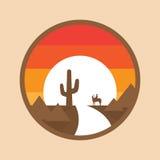 Cowboy på en häst i öknen, kaktus, solnedgång Vektorillustration av rund bakgrund Royaltyfria Bilder